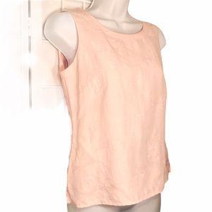 Silk Linen Blend  Embroidery Accent Sleeveless Top